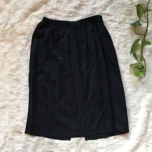 Vintage Black Rayon Blend High Waisted Midi Skirt
